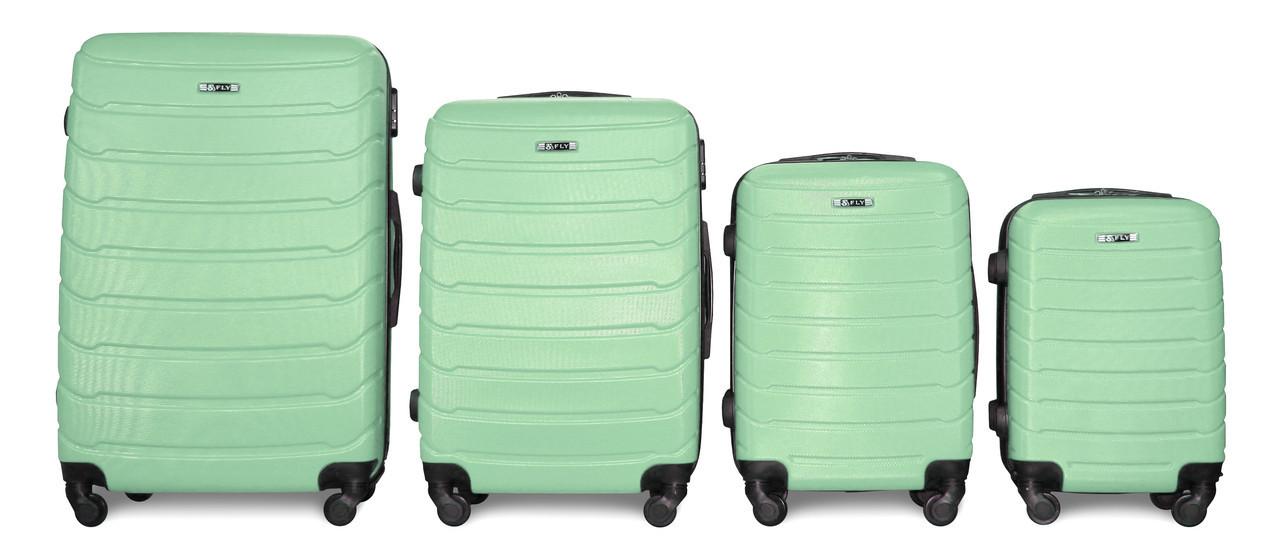 Набор чемоданов 4 штуки в 1 Fly 1107 на 4 колесах Мятный