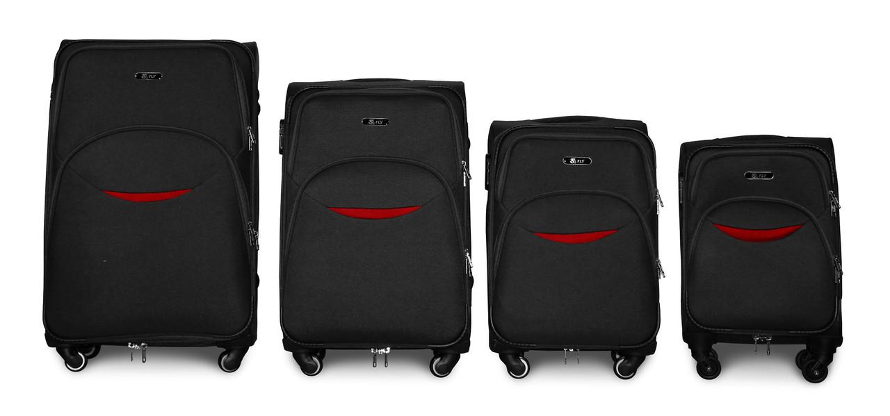 Набор чемоданов 4 штуки в 1 Fly 1708 на 4 колесах Черный