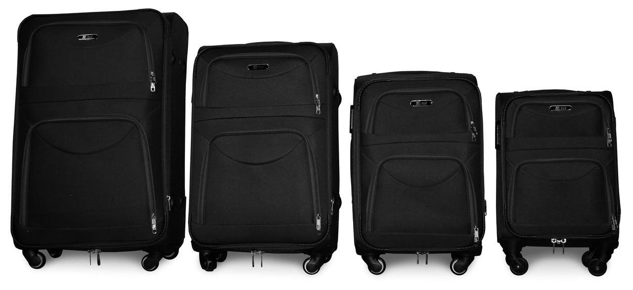 Набор чемоданов 4 штуки в 1 Fly 6802 на 4 колесах Черный