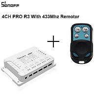 Sonoff 4CH PROR3 WiFi 40А 8800W AC 220V DC 9-24V 4-х канальный коммутатор + RF пульт ДУ