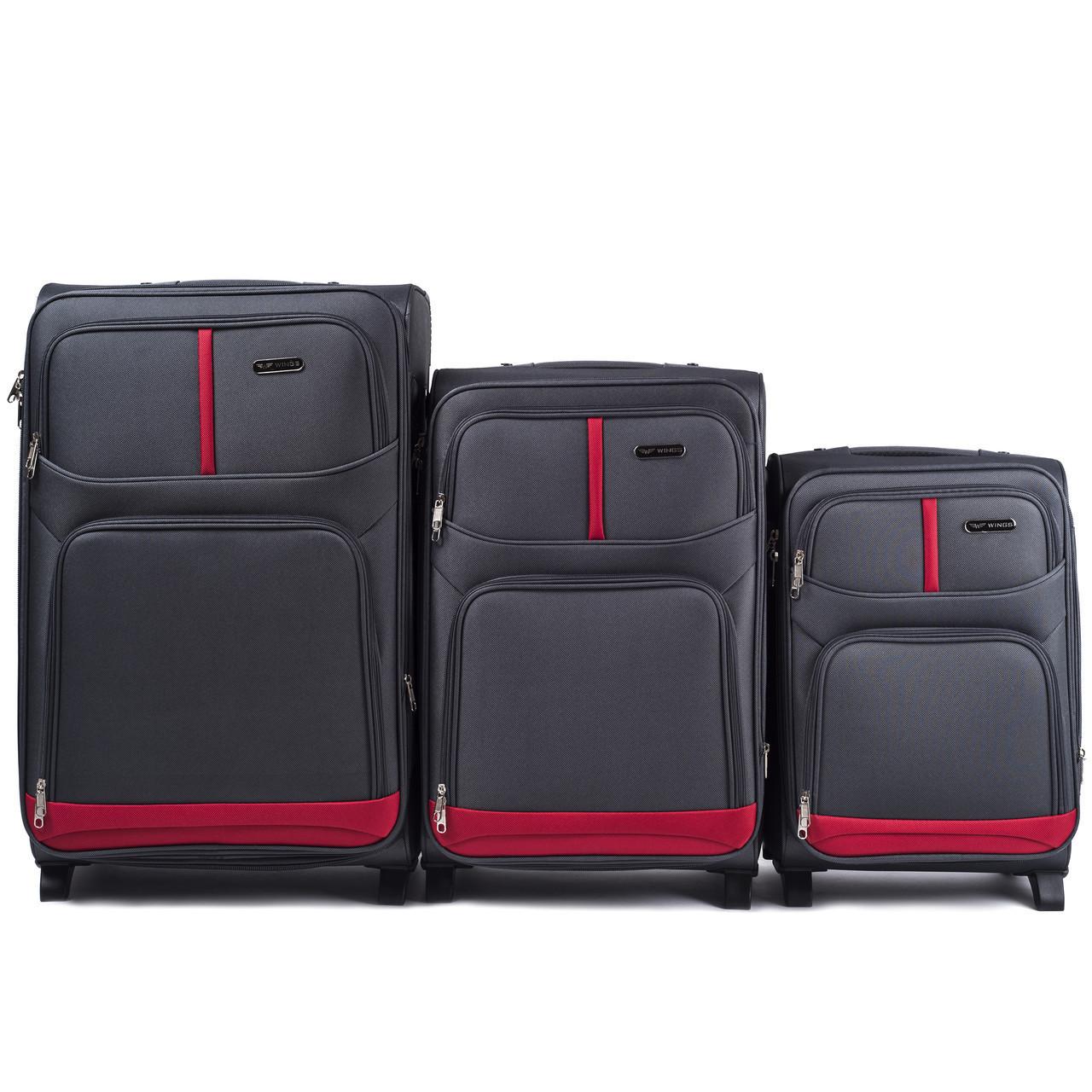 Набор чемоданов 3 штуки в 1 Wings 206 на 2 колесах Серый