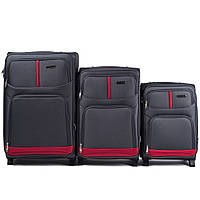 Набор чемоданов 3 штуки в 1 Wings 206 на 2 колесах Серый, фото 1
