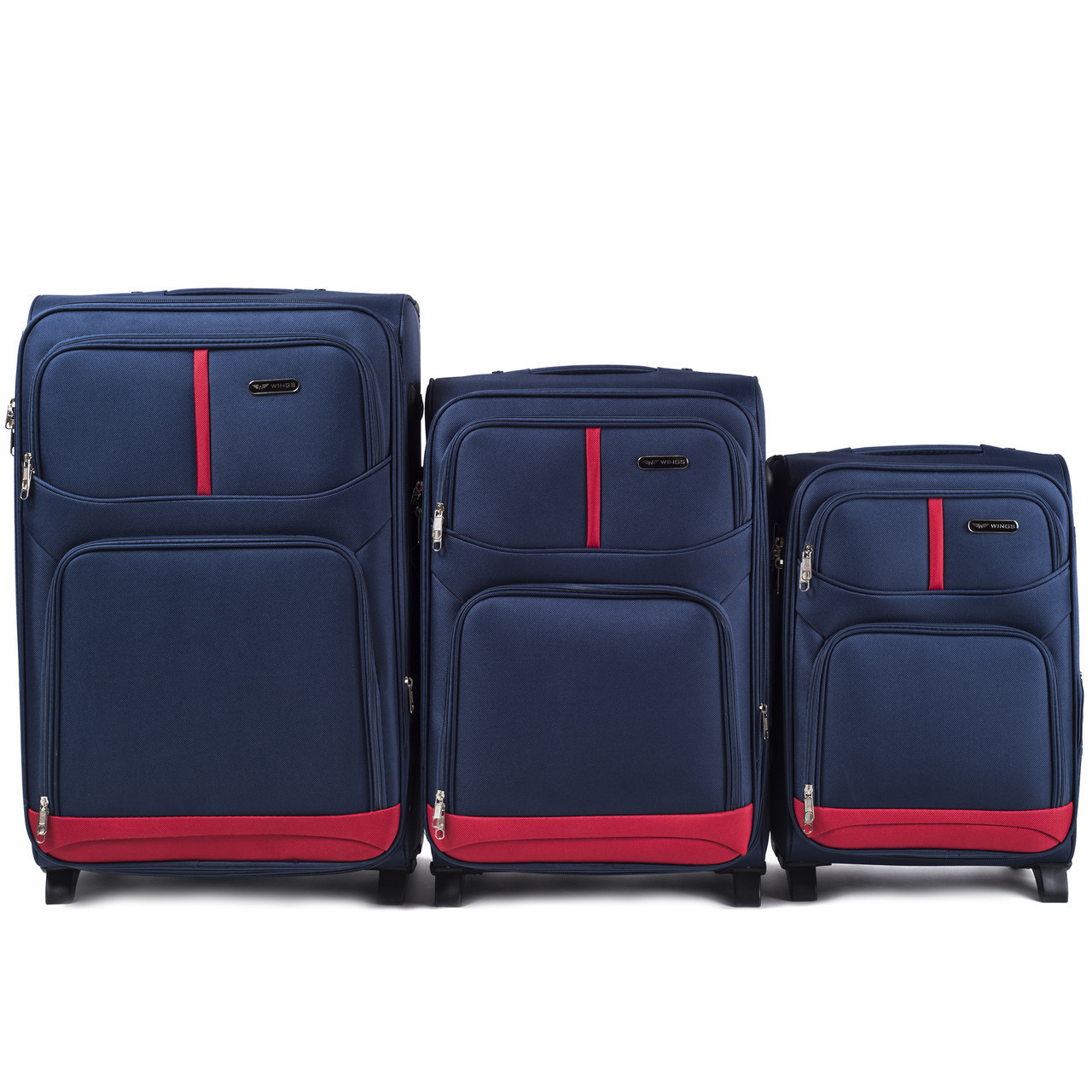 Набор чемоданов 3 штуки в 1 Wings 206 на 2 колесах Синий