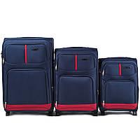 Набор чемоданов 3 штуки в 1 Wings 206 на 2 колесах Синий, фото 1