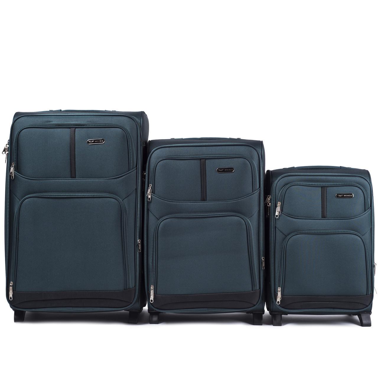 Набор чемоданов 3 штуки в 1 Wings 206 на 2 колесах Зеленый