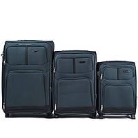 Набор чемоданов 3 штуки в 1 Wings 206 на 2 колесах Зеленый, фото 1