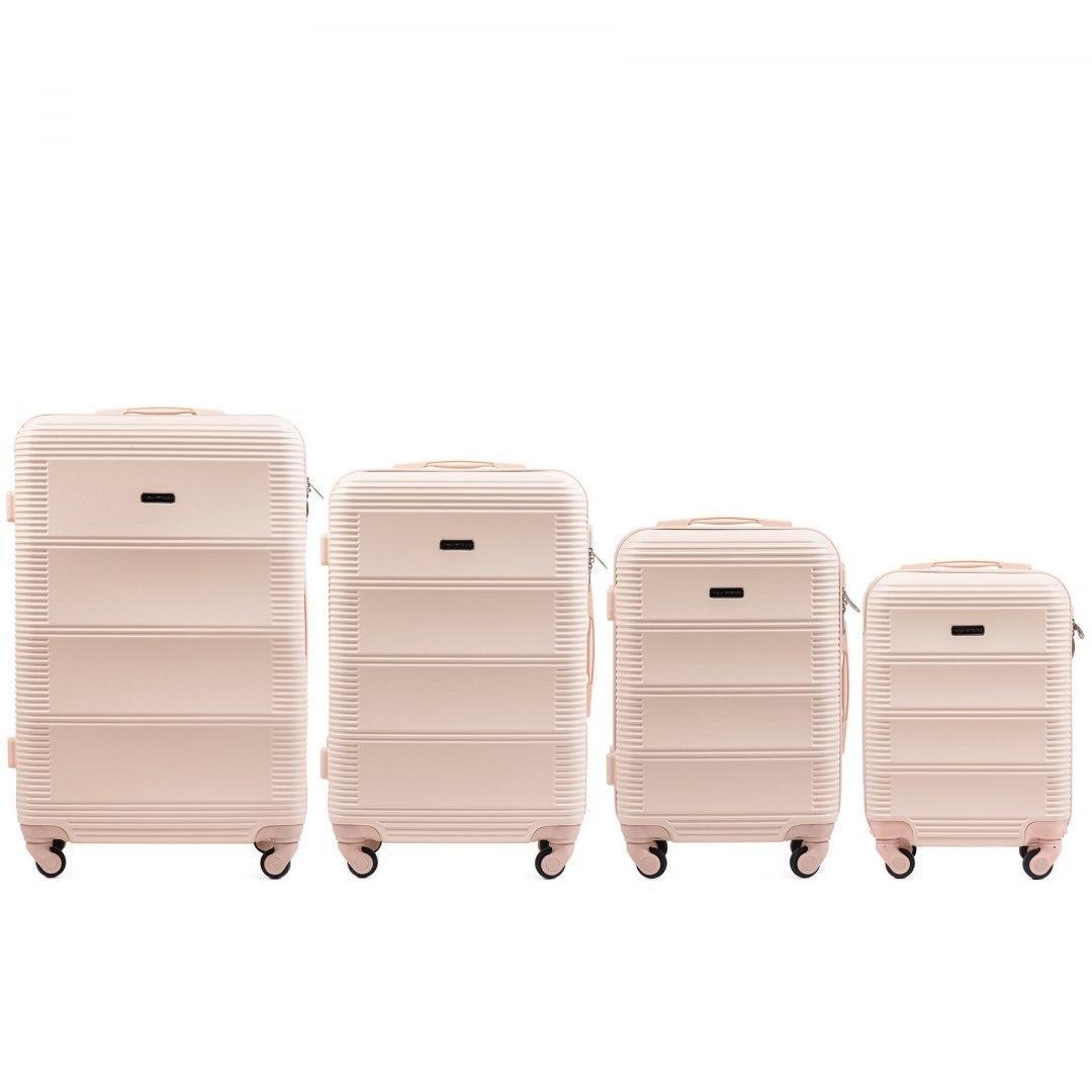 Набор пластиковых чемоданов 4 штуки в 1 Wings K203 на 4 колесах Бежевый