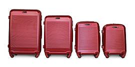 Набор чемоданов 4 штуки в 1 Fly 1093 на 4 колесах Бордовый
