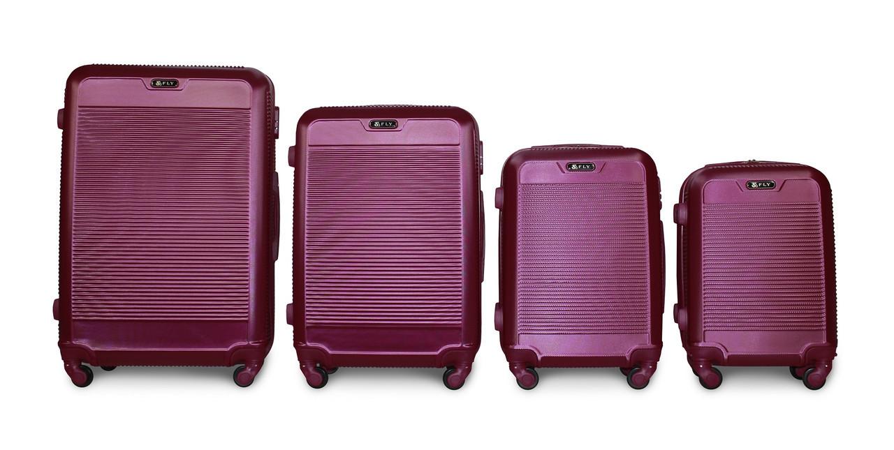 Набор чемоданов 4 штуки в 1 Fly 1093 на 4 колесах Сливовый