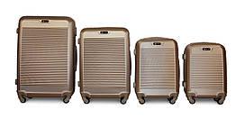 Набор чемоданов 4 штуки в 1 Fly 1093 на 4 колесах Золотистый
