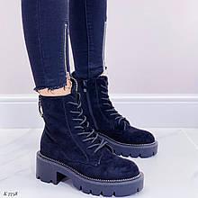 ТОЛЬКО 38 р!!! Женские ботинки ДЕМИ черные на шнуровке эко замша