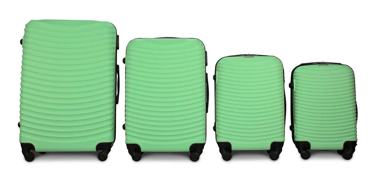 Набор чемоданов 4 штуки в 1 Fly 1053 на 4 колесах Мятный