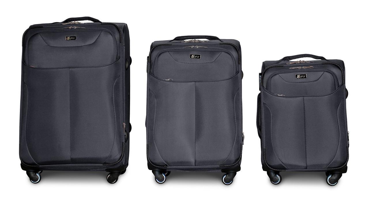 Набор чемоданов 3 штуки в 1 Fly 1807 на 4 колесах Темно-серый