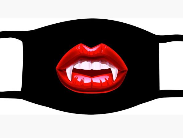 Защитная маска многоразовая с рисунком Губы вампира с принтом ORIGINAL хлопок (Двухслойная)