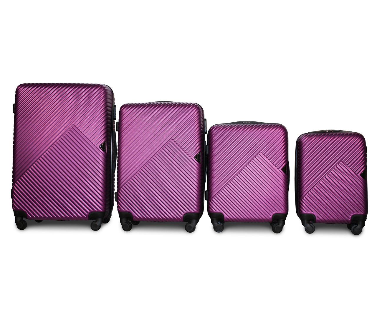 Набор чемоданов 4 штуки в 1 Fly 2702 на 4 колесах Темно-фиолетовый
