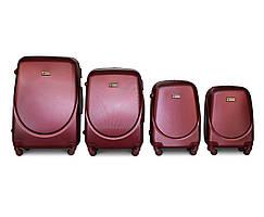 Набор чемоданов 4 штуки в 1 Fly K310 на 4 колесах Светло-бордовый