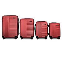Набор чемоданов 4 штуки в 1 Fly 1096 на 4 колесах Бордовый, фото 1