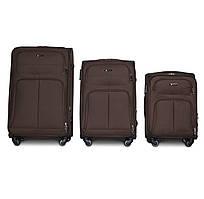 Набор чемоданов 3 штуки в 1 Fly 8279 на 4 колесах Коричневый
