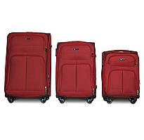 Набор чемоданов 3 штуки в 1 Fly 8279 на 4 колесах Бордовый