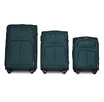 Набор чемоданов 3 штуки в 1 Fly 8279 на 4 колесах Темно-зеленый