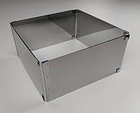 Кондитерская раздвижная форма для выпечки квадратная нержавеющая сталь 20см*20см, В - 10см.