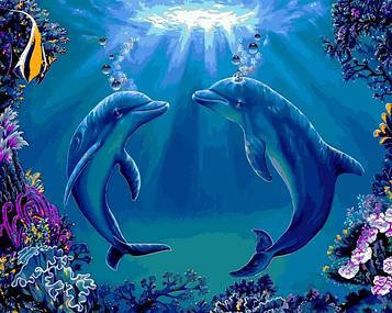 Картина по номерам 40×50 см. Babylon Дельфины (VP 1141)