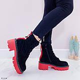 Женские ботинки ДЕМИ черные с красным на шнуровке эко замша, фото 6