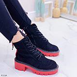 Женские ботинки ДЕМИ черные с красным на шнуровке эко замша, фото 5