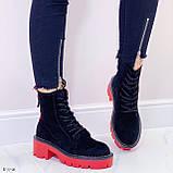 Женские ботинки ДЕМИ черные с красным на шнуровке эко замша, фото 4