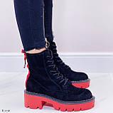 Женские ботинки ДЕМИ черные с красным на шнуровке эко замша, фото 3