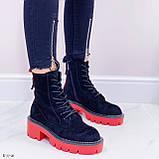 Женские ботинки ДЕМИ черные с красным на шнуровке эко замша, фото 7
