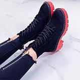 Женские ботинки ДЕМИ черные с красным на шнуровке эко замша, фото 2