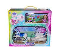 Карета с лошадкой (синее седло) и куклой, лошадки пони,детские игрушки,пони,лошадка