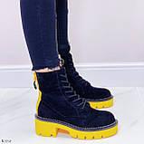 Женские ботинки ДЕМИ черные с желтым на шнуровке эко замша, фото 5