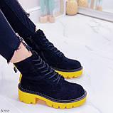 Женские ботинки ДЕМИ черные с желтым на шнуровке эко замша, фото 3