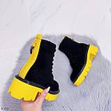 Женские ботинки ДЕМИ черные с желтым на шнуровке эко замша, фото 6