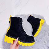 Женские ботинки ДЕМИ черные с желтым на шнуровке эко замша, фото 4