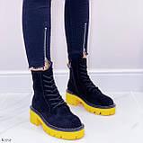 Женские ботинки ДЕМИ черные с желтым на шнуровке эко замша, фото 8
