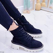 Женские ботинки ДЕМИ черные с белым эко-замш
