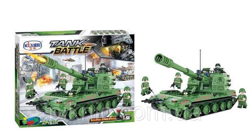 Конструктор Танк для мальчиков от 6 лет, 593 дет. Детский игровой набор для детей военная техника