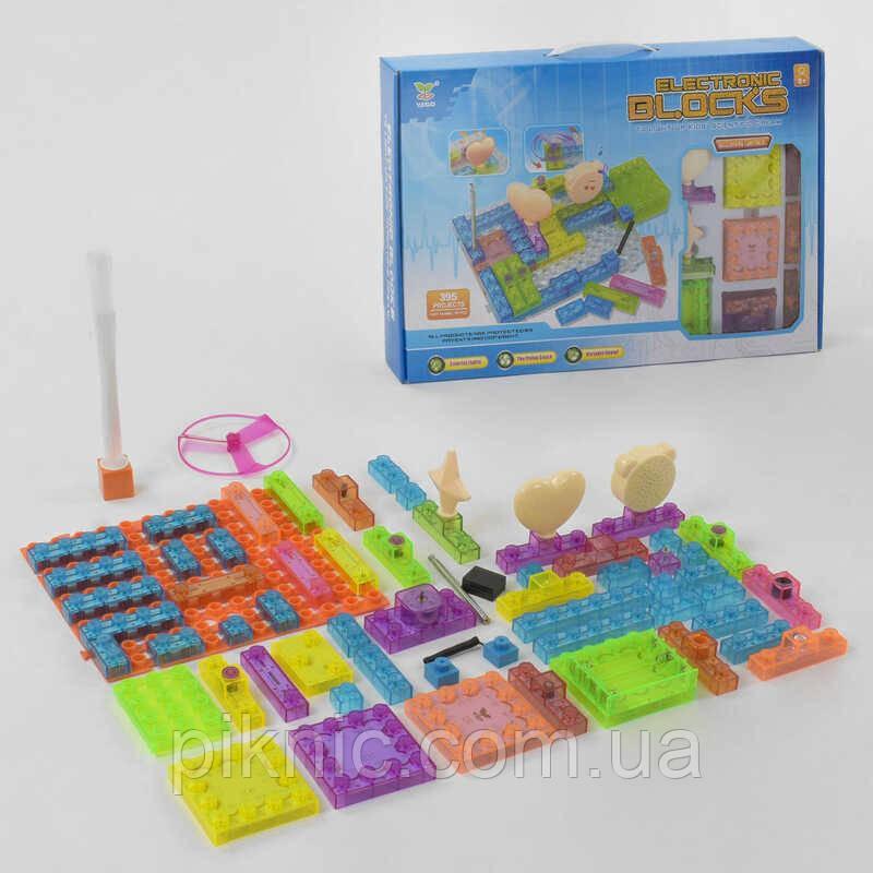 Конструктор электронный для детей от 8 лет, 59 элементов, 395 схем, подсветка. Набор 2964