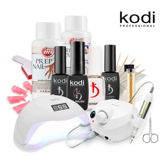 Набор для гель-лака Kodi с UV-LED лампой SUN Х 54 Вт и Фрезером для маникюра Drill Pro