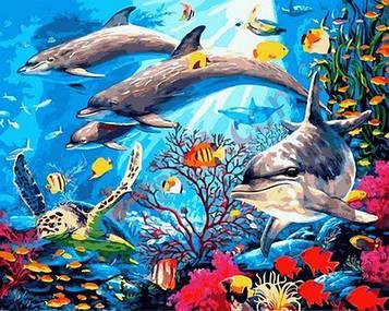 Картина по номерам 40×50 см. Mariposa Семья дельфинов (Q 2146)