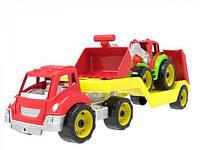 Автовоз с трактором ТехноК, красный, Технок, машинка,детские машинки
