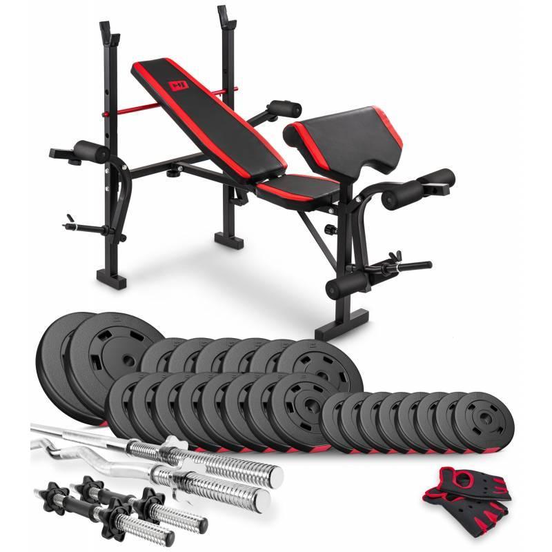Штанга + гантели наборные 94 кг со скамьей HS-1055 Hop-Sport Premium силовой набор для дома и спортзала