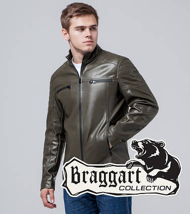 Braggart Youth | Куртка экокожа 3645 хаки, фото 2