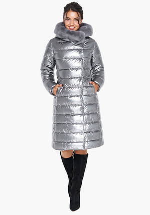 Воздуховик Braggart Angel's Fluff 31094 | Зимняя женская куртка серебро, 50 (L) ) 56 (3XL), фото 2