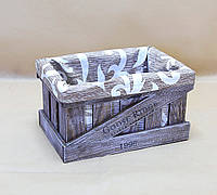 Ящик декоративный с чехлом ДЯМ-3 КОРИЧНЕВО-БЕЛЫЙ (малый, квадратный)