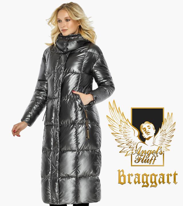 Воздуховик Braggart Angel's Fluff 42830  Зимняя женская куртка длинная цвет темное серебро