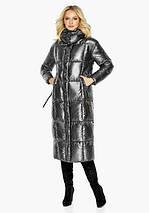 Воздуховик Braggart Angel's Fluff 42830  Зимняя женская куртка длинная цвет темное серебро, фото 3